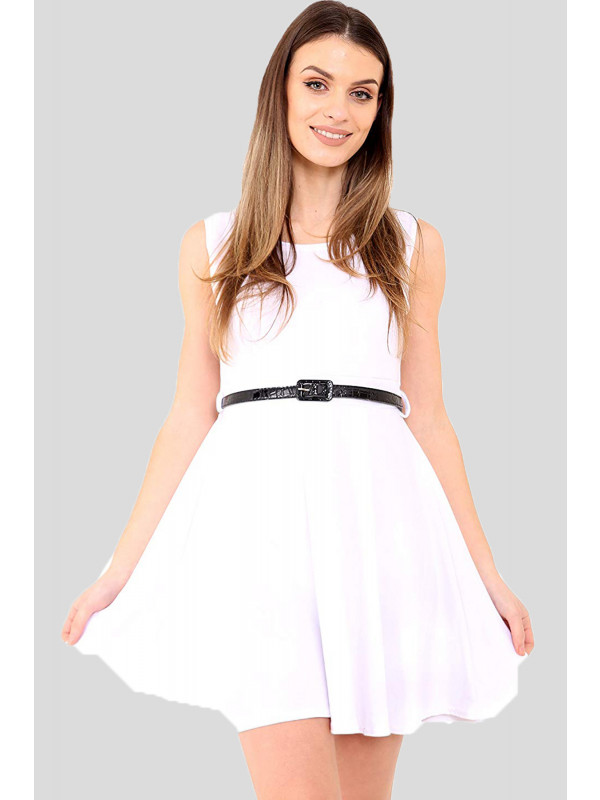 AYVA Plus Size Belted Flared Ladies Skater Dress 16-26
