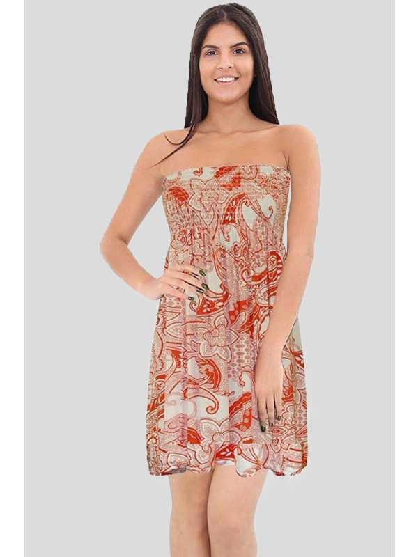 Florence Orange Paisely Printed Sheering Boobtube Top 8-26
