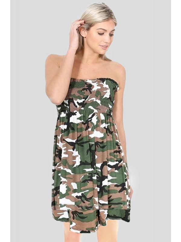 Freya Plus Size Army Print Printed Sheering Boobtube Top 16-26