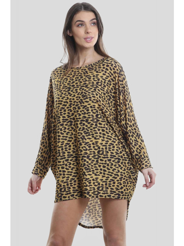 ANA Plus Sized Leopard Print Sleeve Dip Hem Baggy Tops 16-26