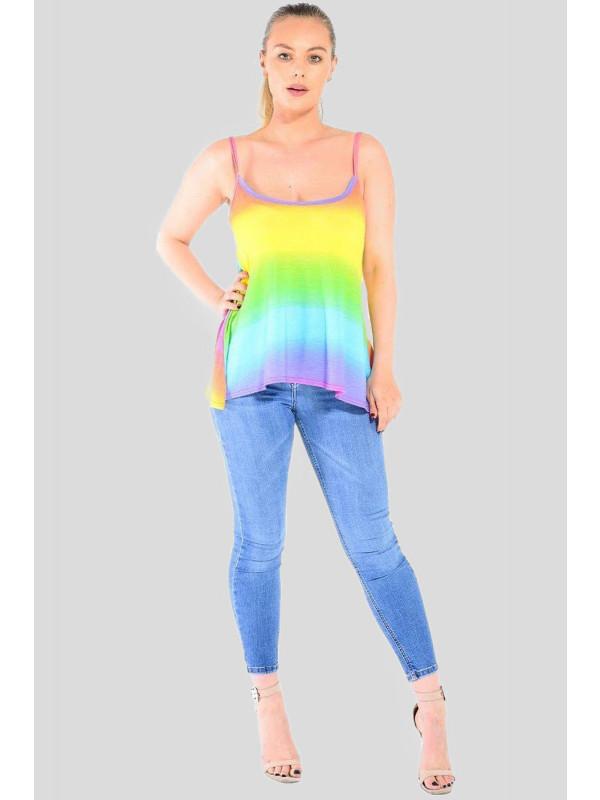 Daisy Vibrant Rainbow Color Print Top 8-14