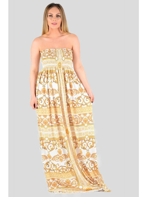 1b6d82a02028 Harriet Plus Size Gold Print Boob Tube Maxi Dress 16-26