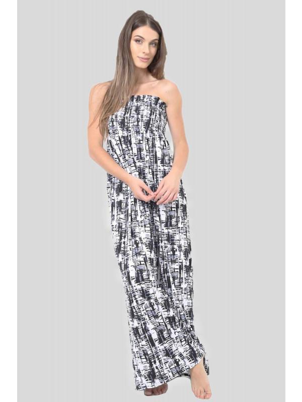 KLARA  Graphic Pattern Boob Tube Maxi Dress 8-14