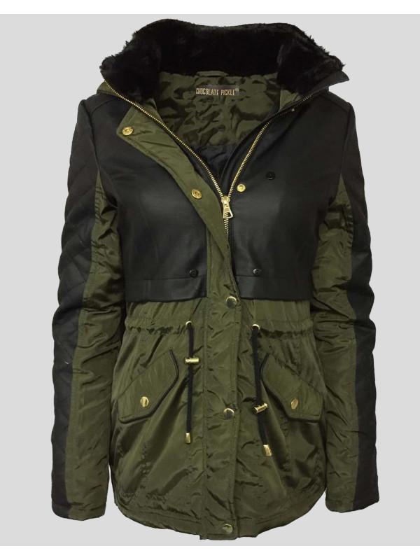 IMANI Waist Fur PU Jacket Coat 8-16
