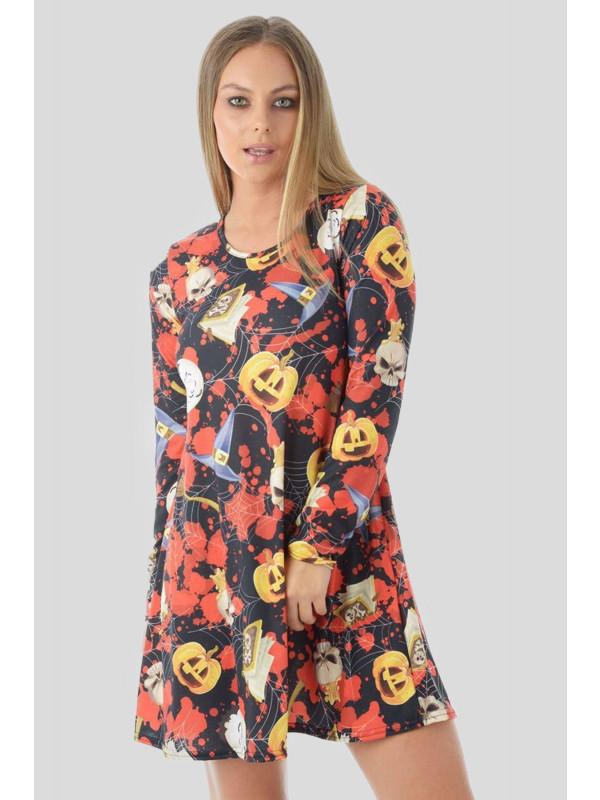 ANISA Halloween Black-Bloody Pumpkin Web Swing Dress 8-14
