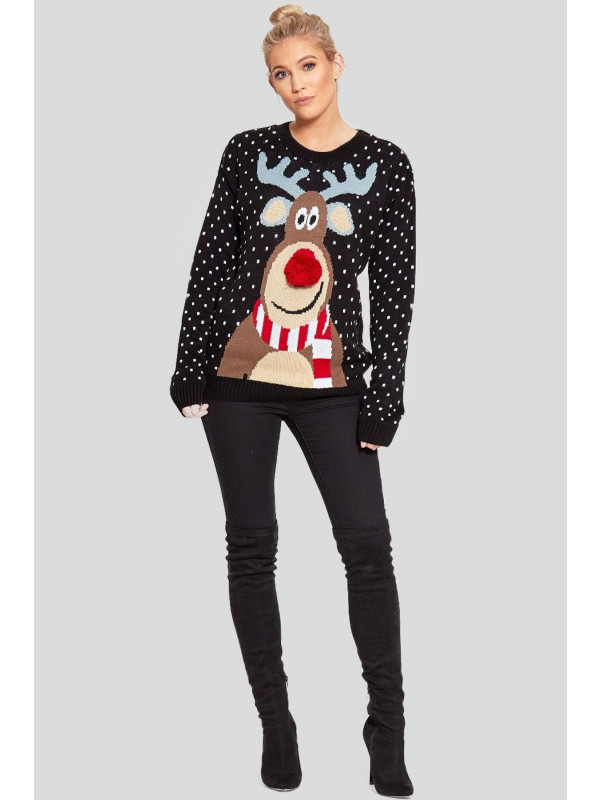 Theia Plus Size Reindeer 3d Nose Jumpers 16-30