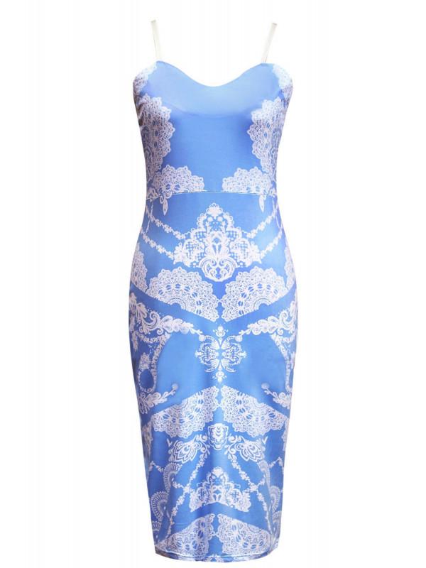 KAIA Plus Size Cami Strappy Floral Detail Bodycon Midi Dress 16-22
