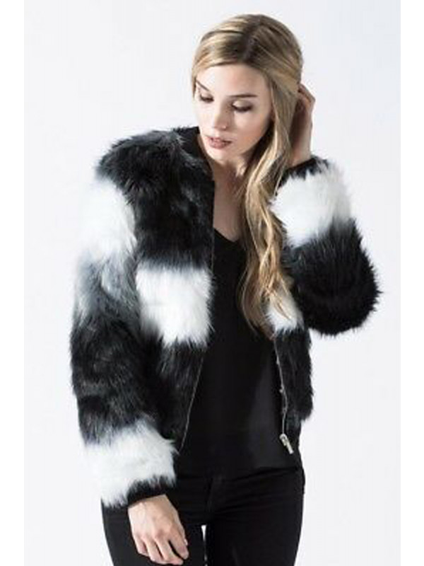 KAITLIN Color Block Long Pile Stripe Fur Jacket Coats 8-16