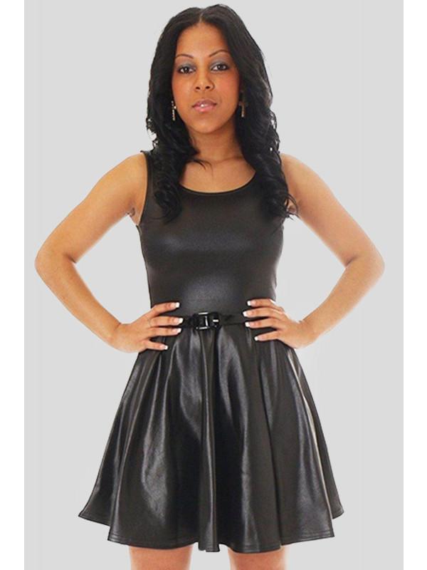 Katy Wet Look Skater Dress 8-26