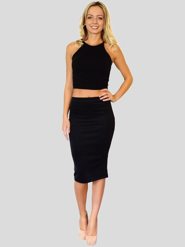 New Womens Plus Size Jersey Stretch Midi Bodycon Pencil Casual Skirts 16-26