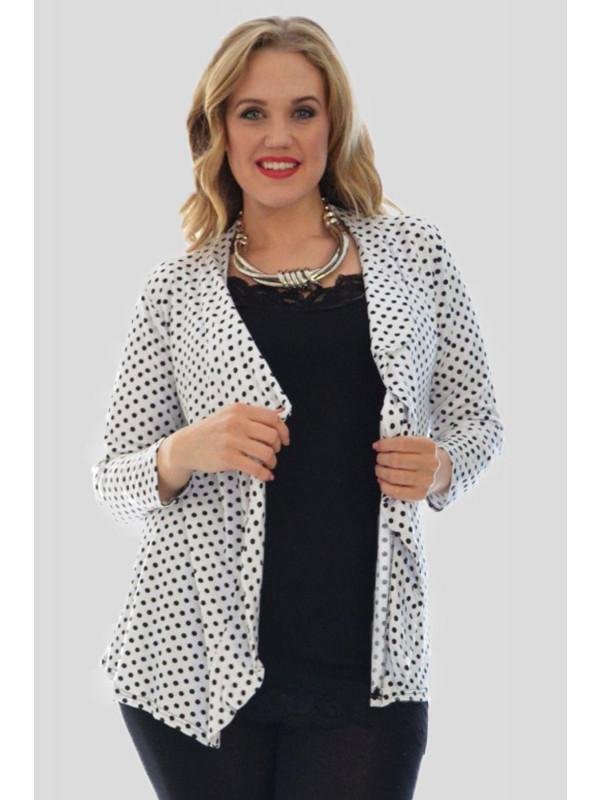 Kiera Plus Size White Polka Dot Tops 16-26
