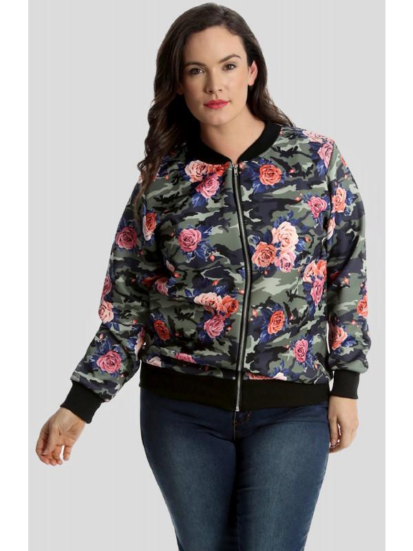 Kori Waist Band Floral Bomber Jacket Coat 14-16
