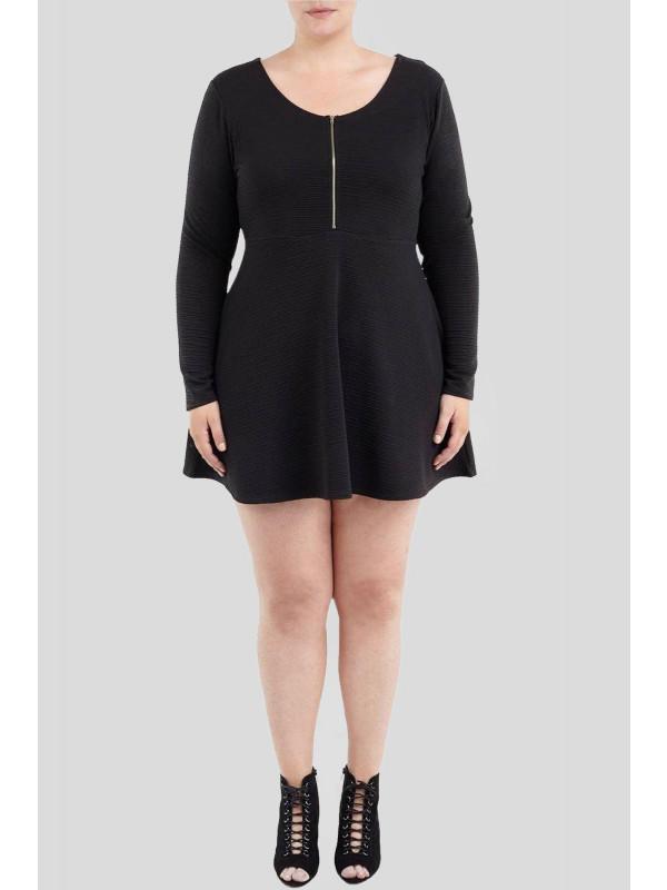 Lisa Long Sleeve Zipper Skater Dress 16-22