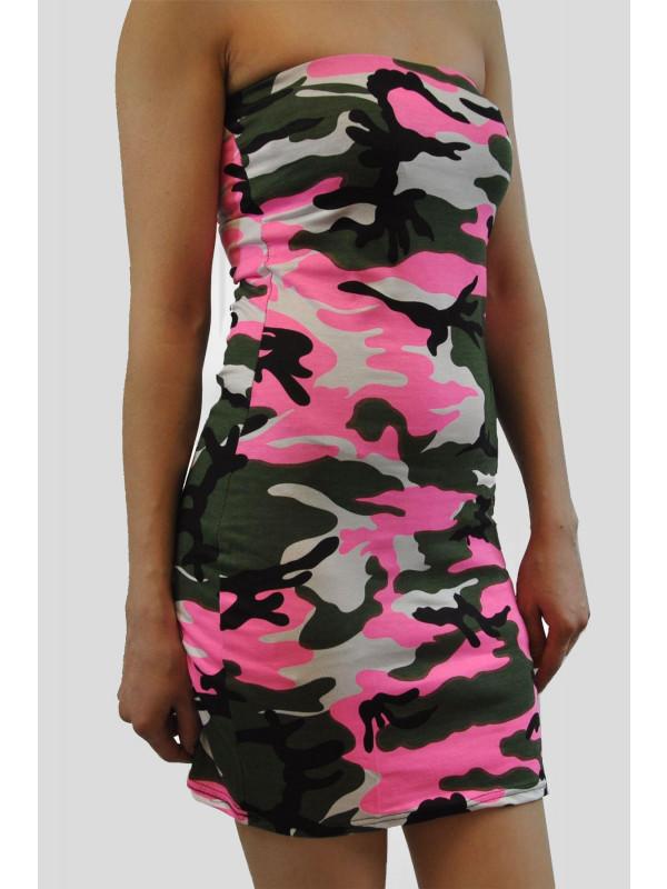 PEGGY Pink Army Bodycon Mini Dress 8-14