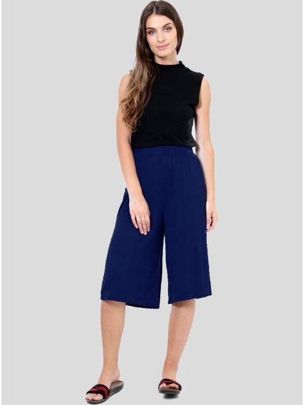 Lora Plain Elasticated Waist Stretch Mini Culottes Shorts 8-26