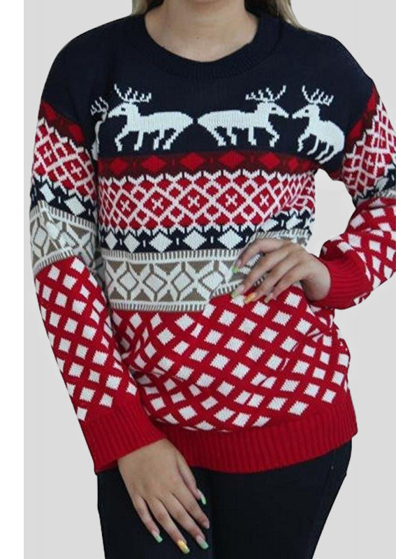 Angela Plus Size Reindeer Aztec Jumpers XL-3XL