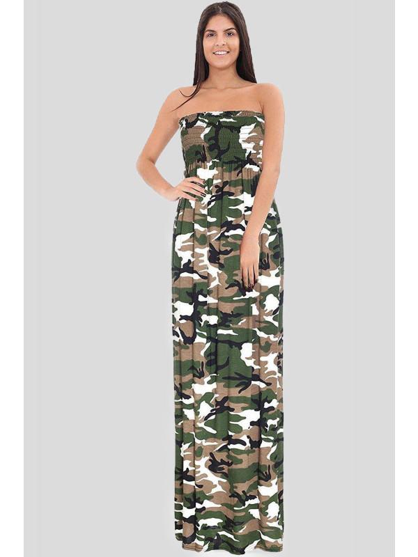 RONNIE Army Boob Tube Maxi Dress 8-14