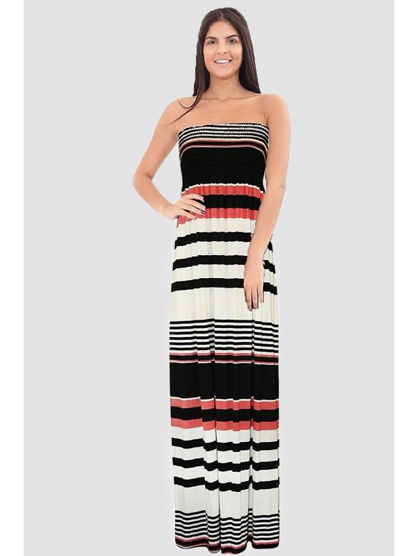 HAWA Horizontal Beach Boob Tube Maxi Dress 8-14