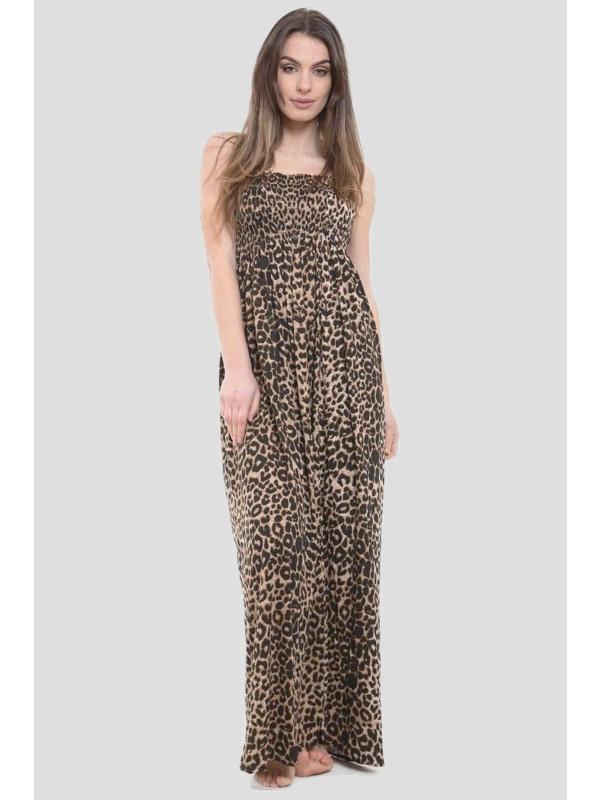 LAVINIA Leopard Boob Tube Maxi Dress 8-14