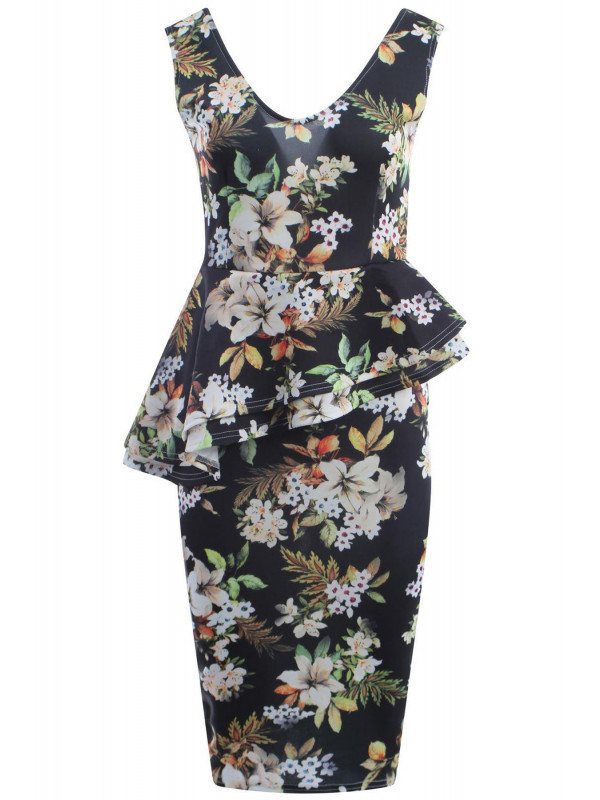 MAIYA Floral Prints Bodycon Midi Dress 8-14