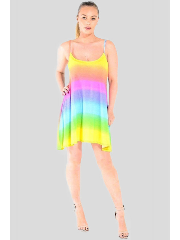 Florence Plus Size Rainbow Print Flared Swing Vest Dress 16-22
