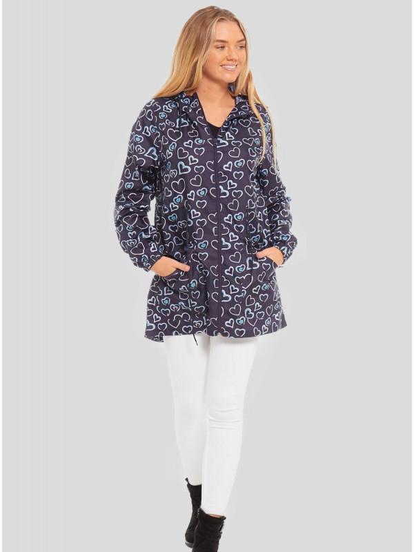 Emma-Blue Heart Printed Raincoats S-2XL
