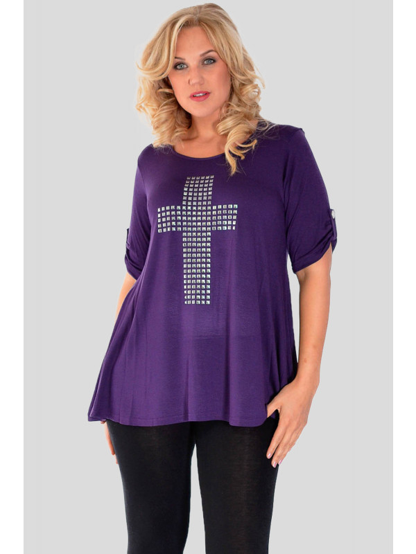 AYVA Plus Size Cross Stud Beaded ¾ Turn Up Sleeve T-Shirt 16-24