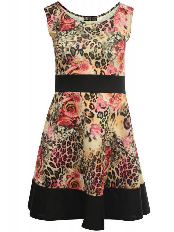 MILEY Contrast Floral Skater Dress 8-14