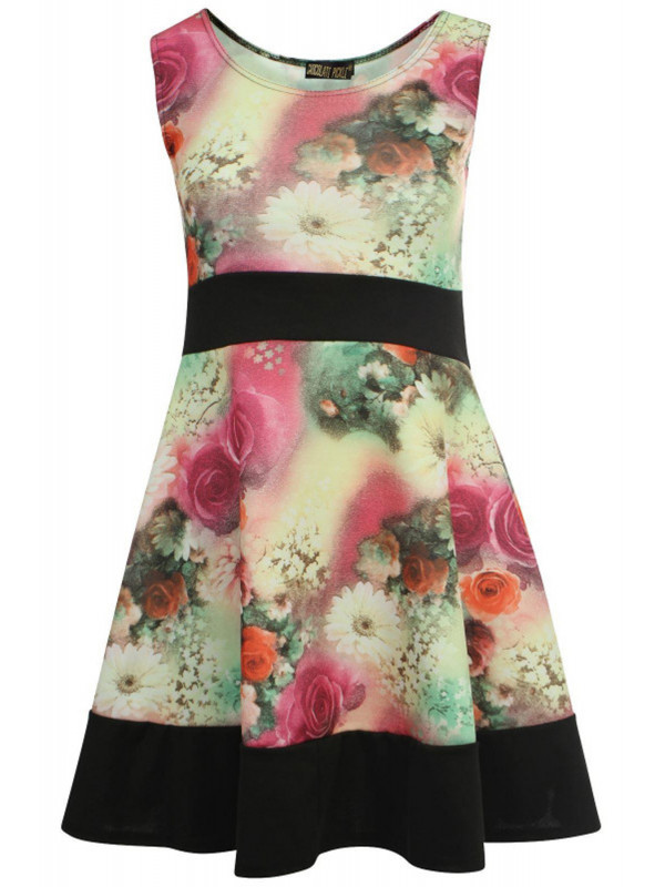FEARNE Plus Size Contrast Floral Skater Dress 16-26