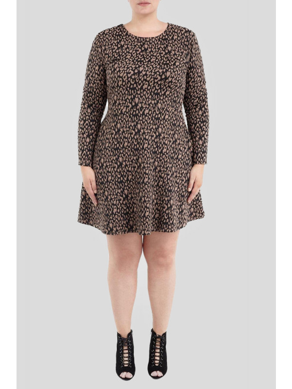 Navia Long Sleeve Jacquard Dress 16-22