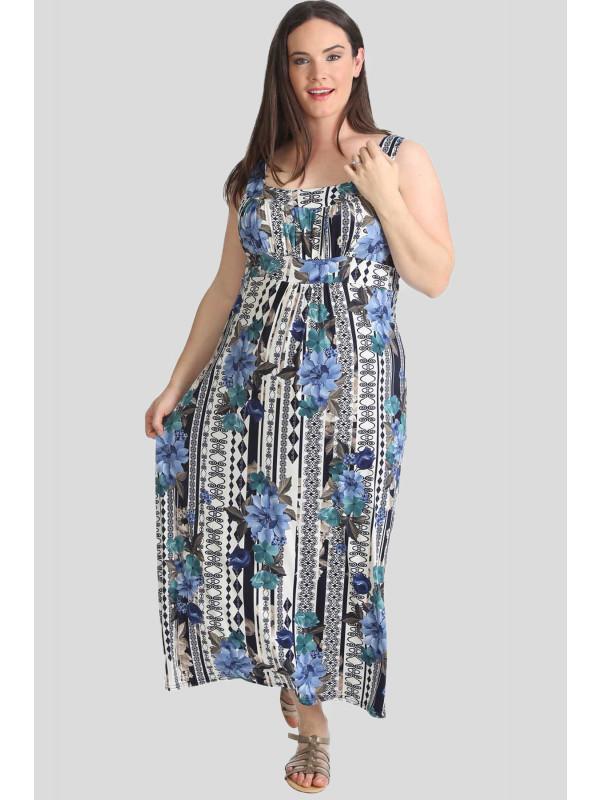 TAHLIA Floral Paisley Print Summer Maxi Dress 14-16