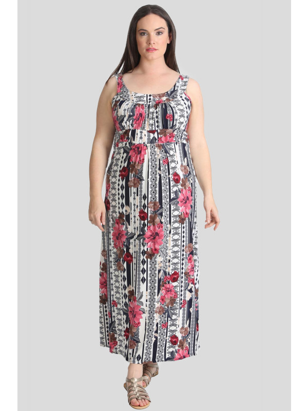 NORA Plus Size Floral Paisley Print Summer Maxi Dress 16-24