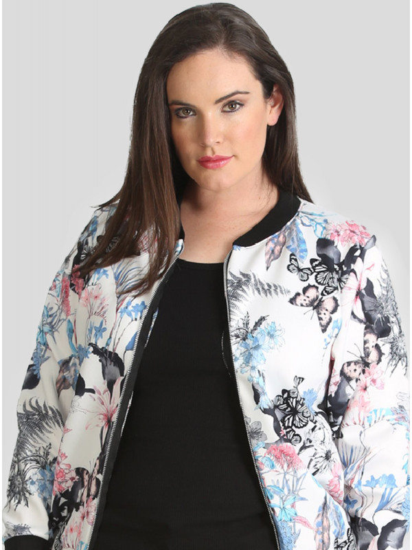 Miya Plus Size Zip Up Blazer Jacket 16-28
