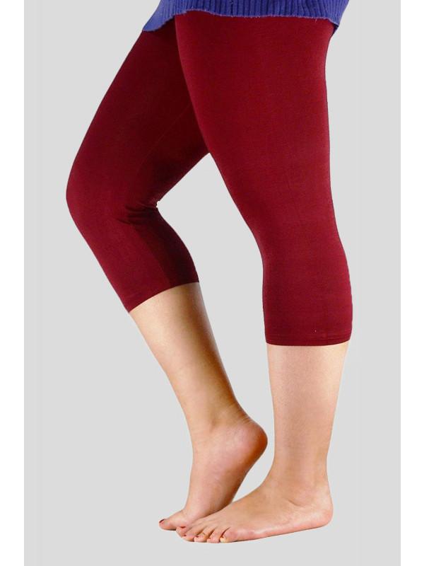 Oilvia Stretchy Plain 3/4 Under Knee Leggings 12-30