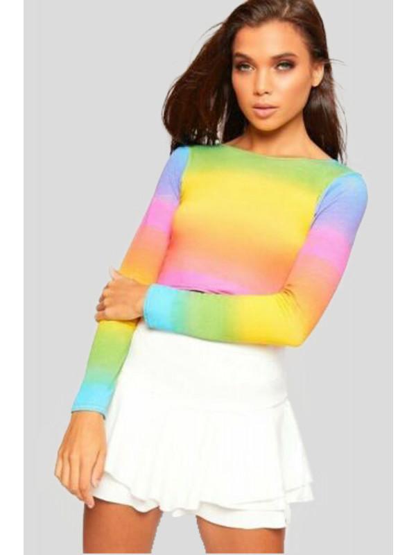 Isabella Rainbow Stripe Print Multi Colour  Jersey 8-14