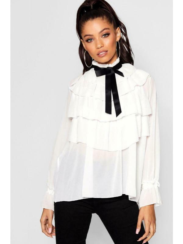 Zayna Chiffon Frill Ruffle Collar Bow Tie Blouse Top Shirts 8-14