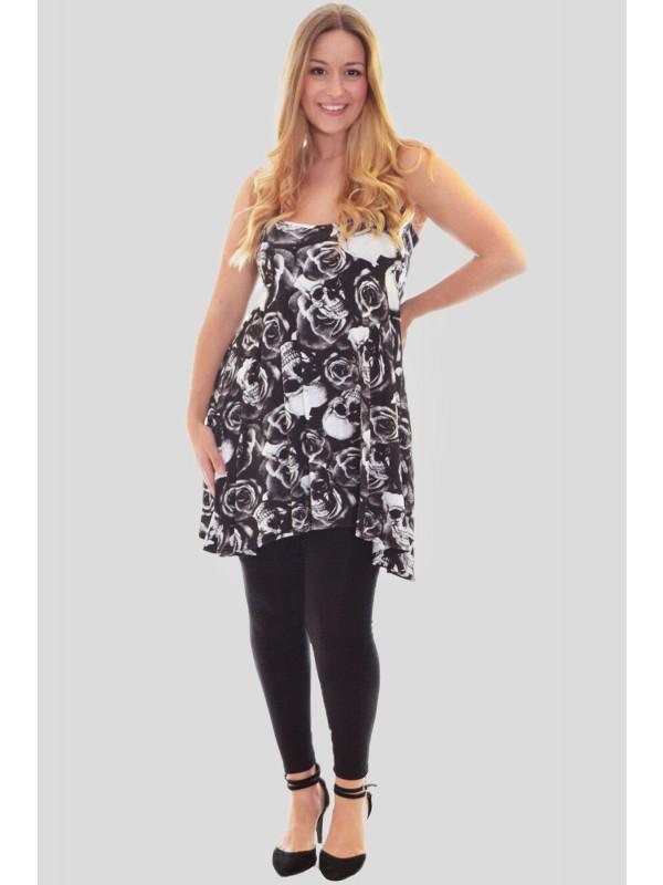 Sara Skull Rose Print Swing Dress 8-14