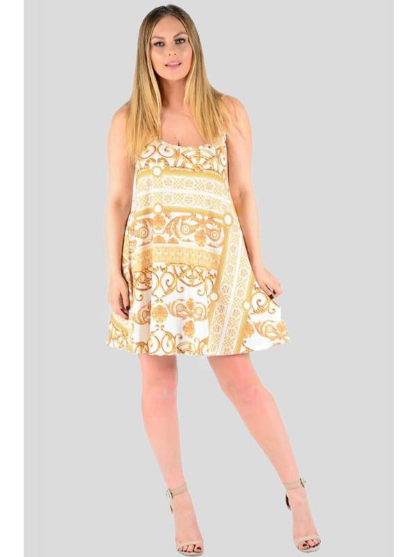ROMY Ladies Chain Print Long Cami Dress Slinky Swing Flared Dress 8-14
