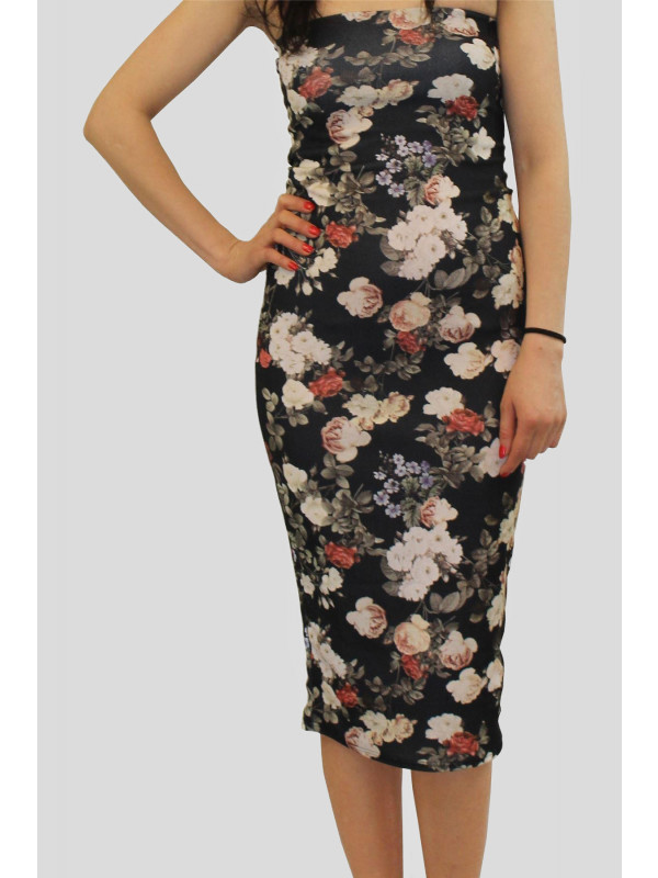 ROXANNE Black Floral Bodycon Dress 8-14