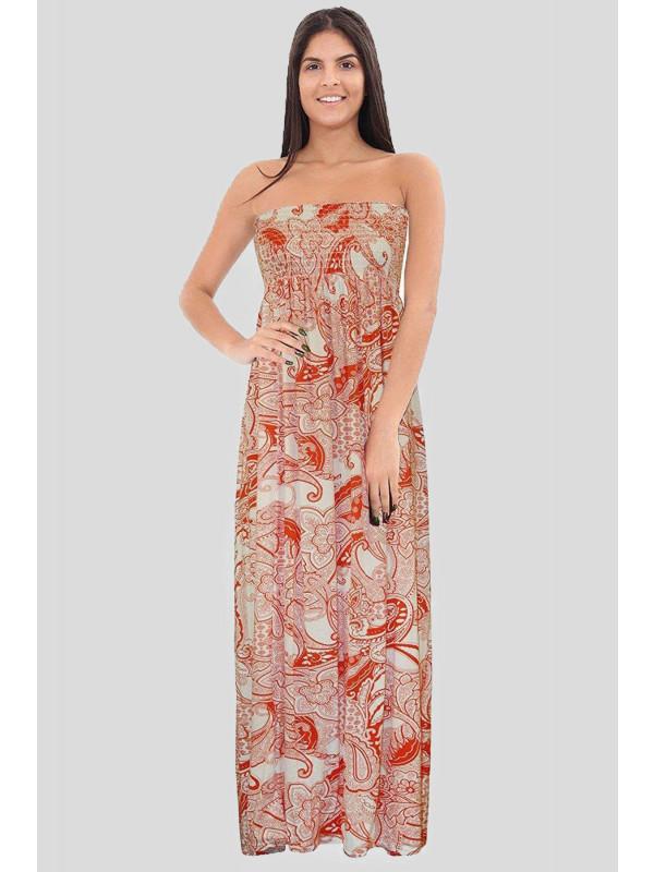 HARLEEN Florence Orange Paisley Boob Tube Maxi Dress 8-14