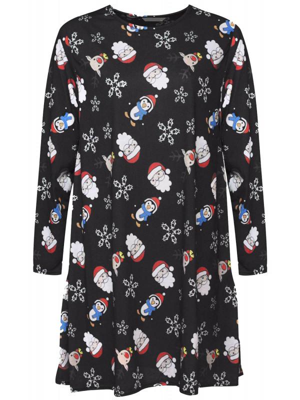 c40c028c05944 NAHLA Plus Size Xmas Santa Print Flared Skater Dress 16-26